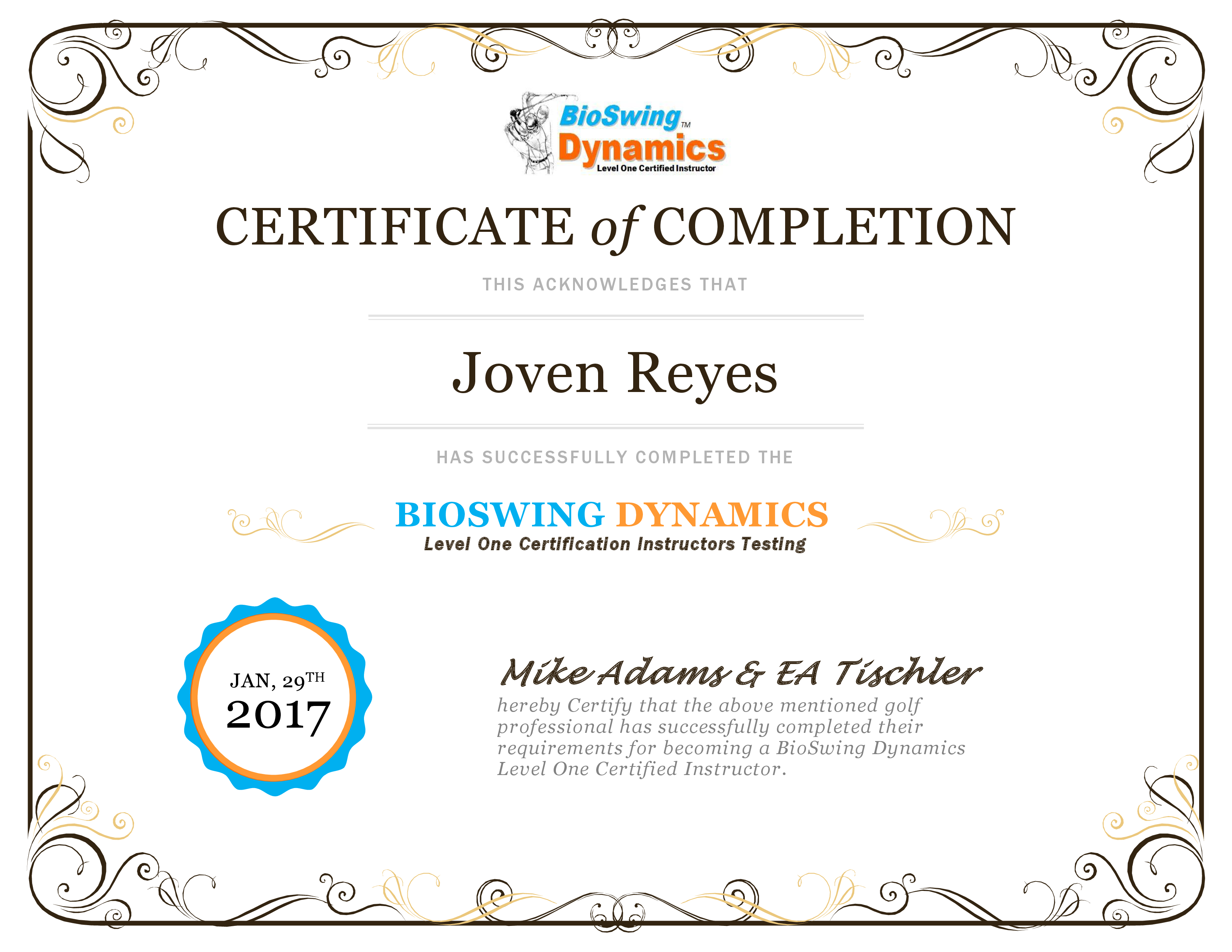 Certificate of Completion Level One - Joven Reyes